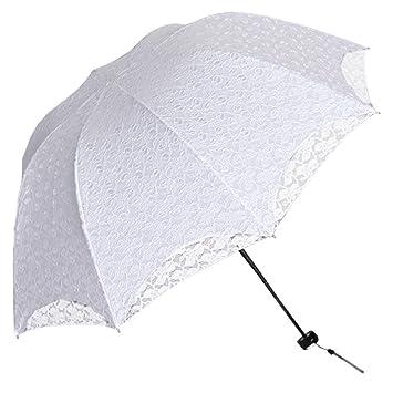 fe3d3ae06ce1 BOZEVON Ombrello sposa bianco in pizzo – Ombrello da matrimonio ideale per  la pioggia e per