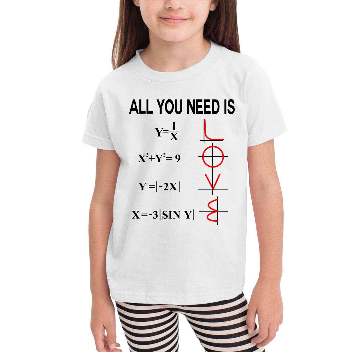Little Boys All You Need is Love Math Soft Short Sleeve Tee Shirt Size 2-6