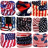 KALILY 9PCS Headband Bandana - Versatile American Flag Sports Headwear –Multifunctional Seamless Neck Gaiter, Headwrap, Balaclava, Helmet Liner, Face Mask for Camping, Running, Cycling