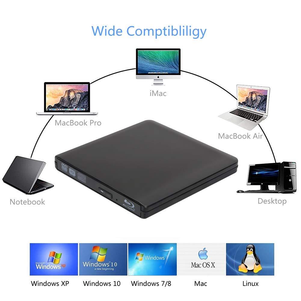 External 4K 3D Blu Ray DVD Drive Burner, Portable Ultra Slim USB 3.0 Blu Ray BD CD DVD Burner Player Writer Reader Disk for Mac OS, Windows 7/8/10,Linxus, Laptop by MOGLOR (Image #6)