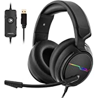 Jeecoo Xiberia USB Pro Gaming Headset for PC- 7.1 Surround Sound Headphones with Noise Cancelling Mic- Memory Foam Ear Pads RGB Lights for Laptops