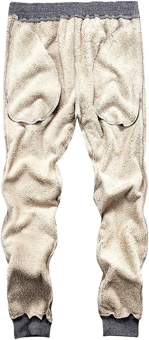 MANLUODANNI Mens Casual Fleece Jogger Sweatpants Men Winter Warm Plush Trousers