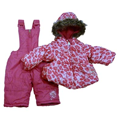 e4398a2df Image Unavailable. Image not available for. Color: Pacific Trail Infant &  Toddler Girls Pink Leopard Snowsuit Ski Bibs Coat Set