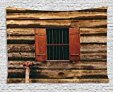 House Decor Tapestry, Wooden Old Lumberjack House with Single Window and Wires in Dark Photograph, Wall Hanging for Bedroom Living Room Dorm, 80WX60L Inches, Red and Brown