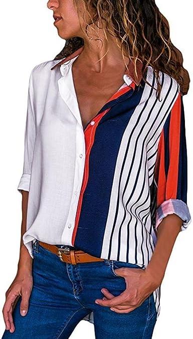 Blusa para Mujer Mujer Moda para Casual Color Block Stripe ...