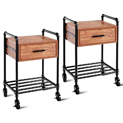 best cheap 86b11 d12f4 Amazon.com: Nightstand Cabinet Storage Rolling Cart Tier ...