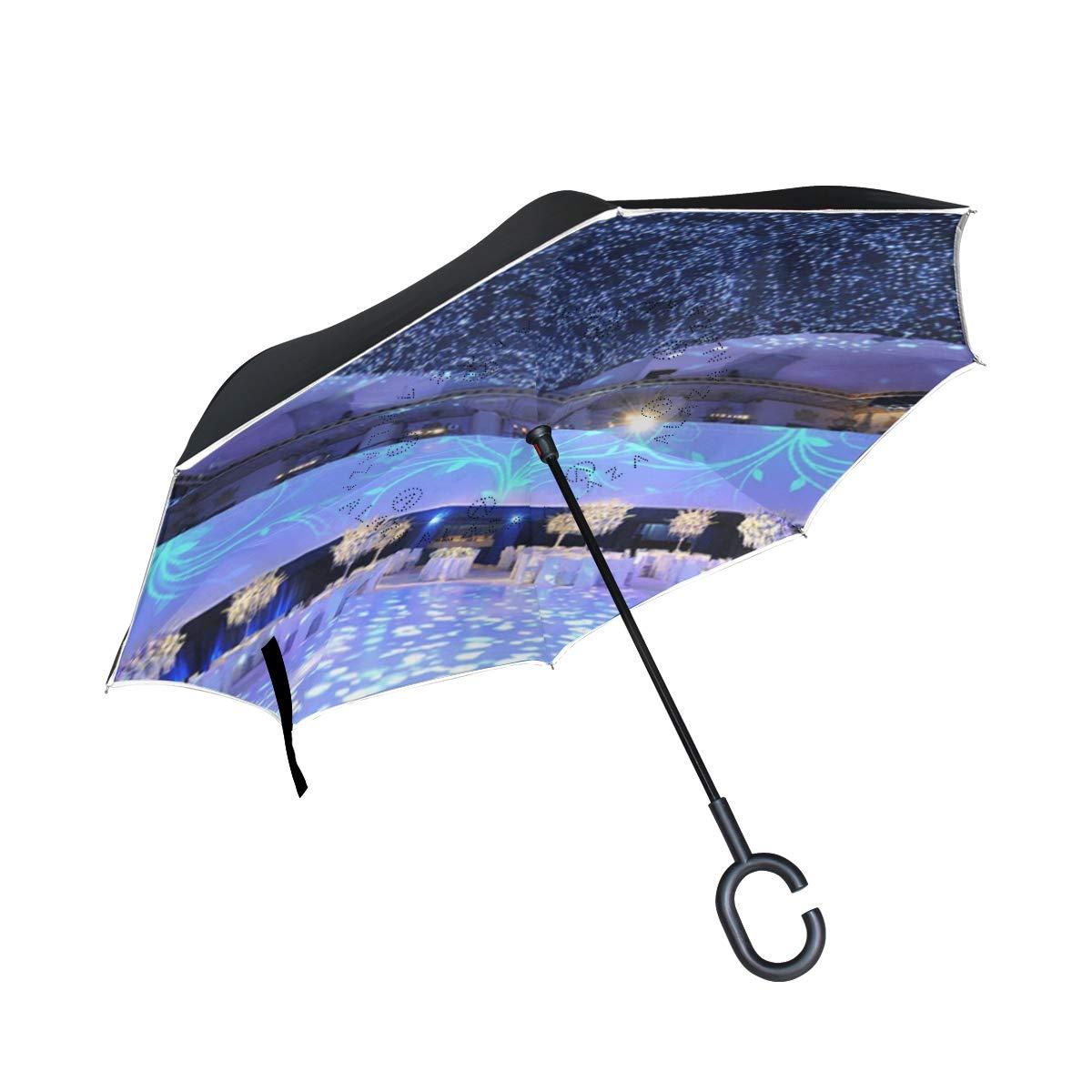 All agree 逆傘 星月夜 キラキラ反転傘 リバーシブル ゴルフ 車 旅行 雨 アウトドア ブラック One Size カラー6 B07HQJJL57