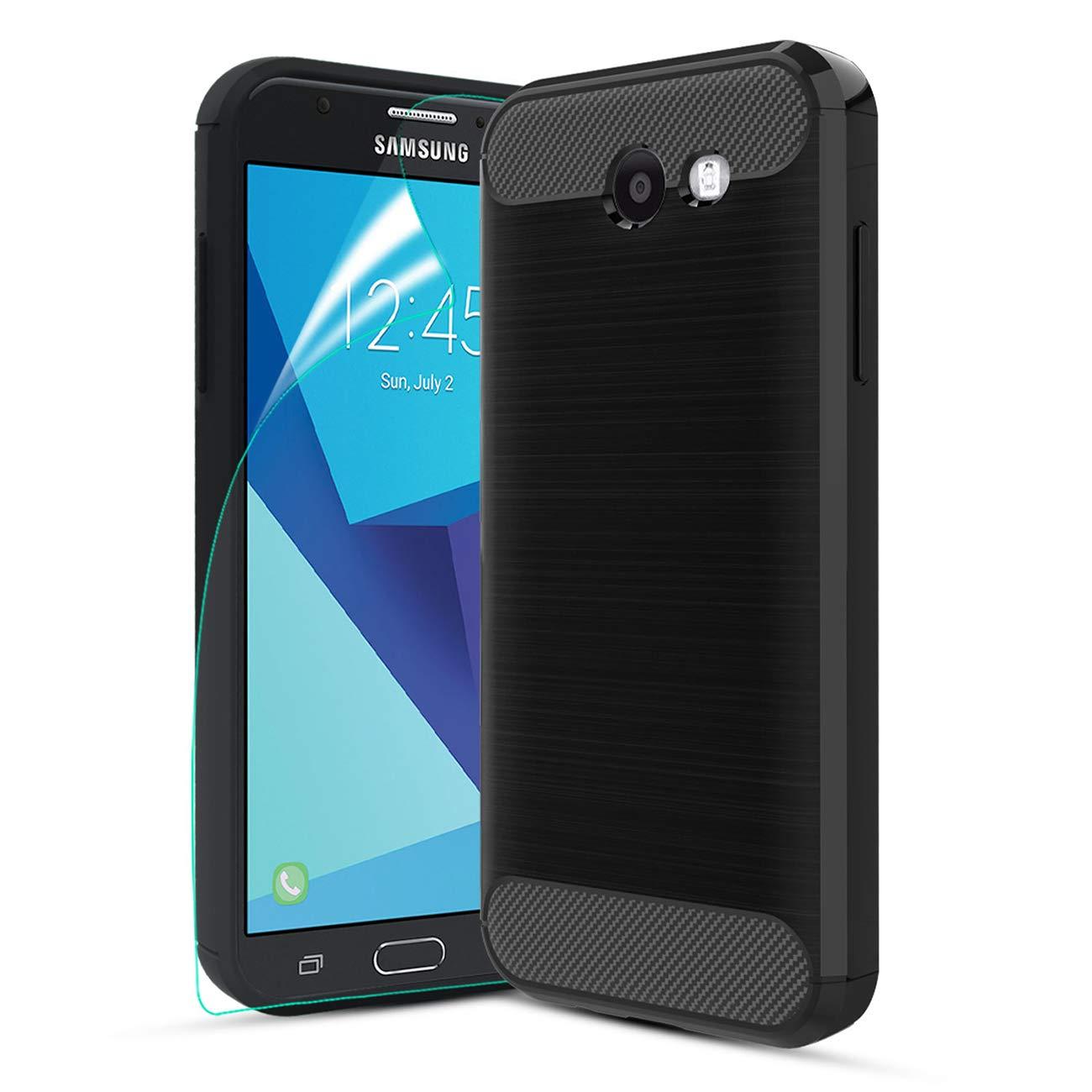 Samsung Galaxy J3 Emerge/J3 Prime/J3 Eclipse/J3 2017/J3 Luna Pro/Amp Prime 2/Express Prime 2 Case,CaseRoo Carbon Fiber Brushed Texture TPU Cover Case ...