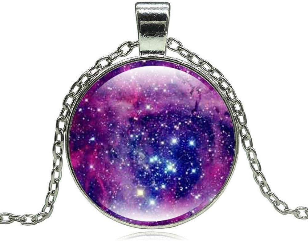AMTBBK Galaxy Estrella Collar De Piedras Preciosas, Cristal Colgante De Plata, De Halloween Collar Pendiente, Ajustable, De Bricolaje, con Collar De Caja De La Lámpara LED,a