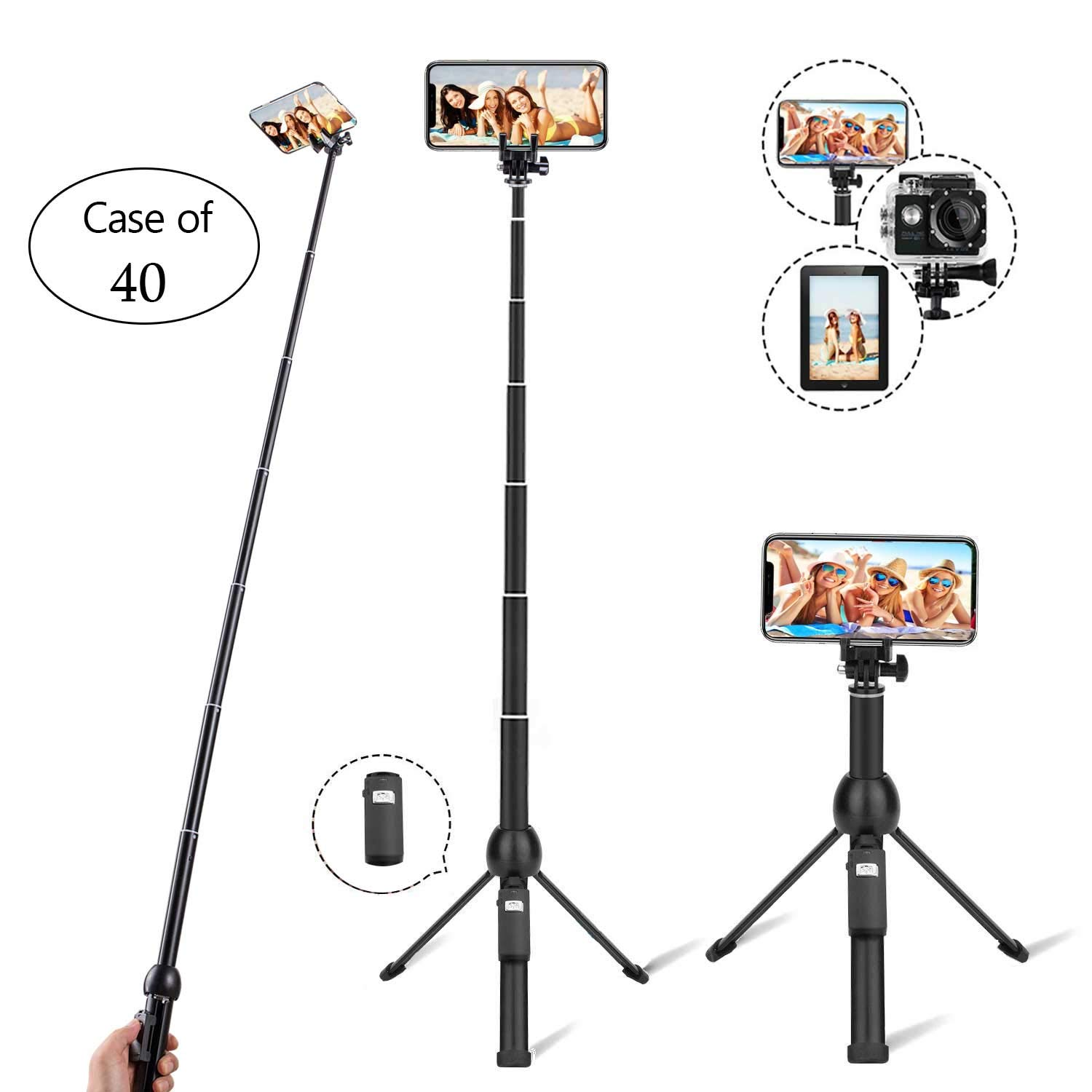 Case of 40, Eocean Selfie Stick, 45 Inch Extendable Selfie Stick with Wireless Remote, Compatible with iPhone/Galaxy Note 9/S9/S9 Plus/Google/Huawei/Xiaomi