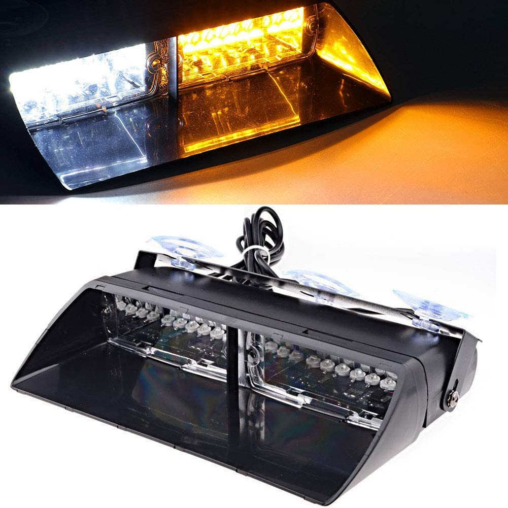 DIBMS 16 Leds Car Truck Emergency Strobe Flash Flashing Dashboard Interior Windshield Warning Light Bar for Car Off road vehicle ATVs truck engineering vehicles Green