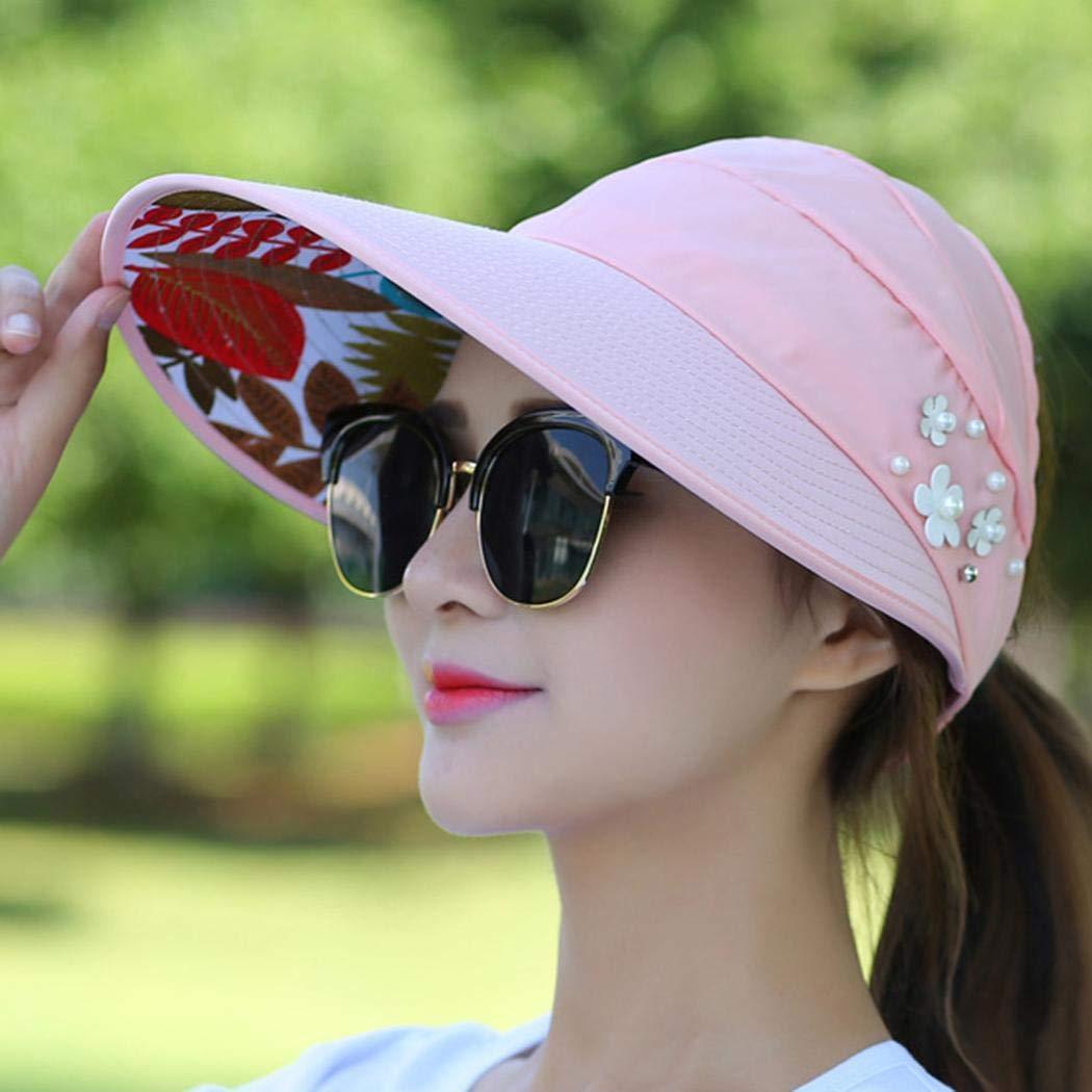 LEANO Women Fashion Print Breathable Fastening Tape Sunscreen Sun Cap Sun Hat Sun Hats