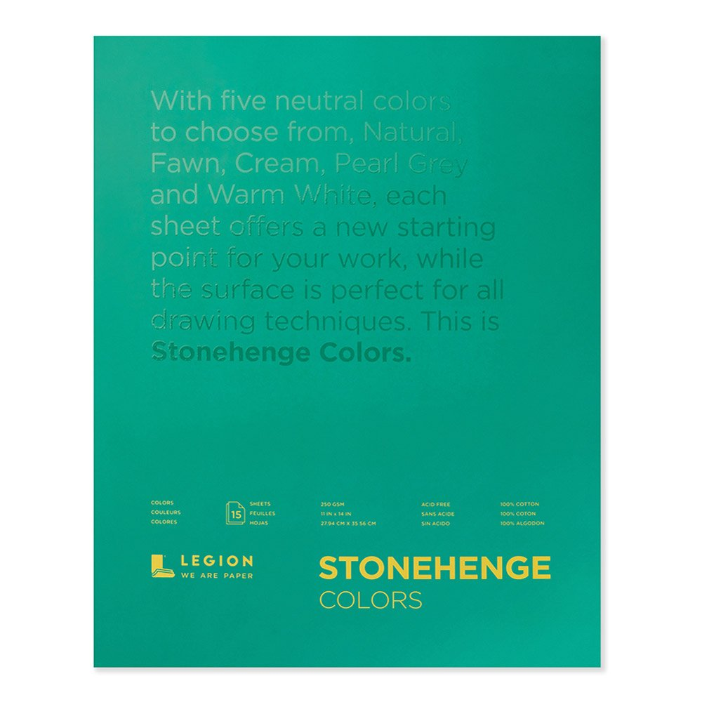 Legion Stonehenge Multicolor Pad, 11 X 14 inches, 15 Sheets (L21-STP250MC1114) by Stonehenge
