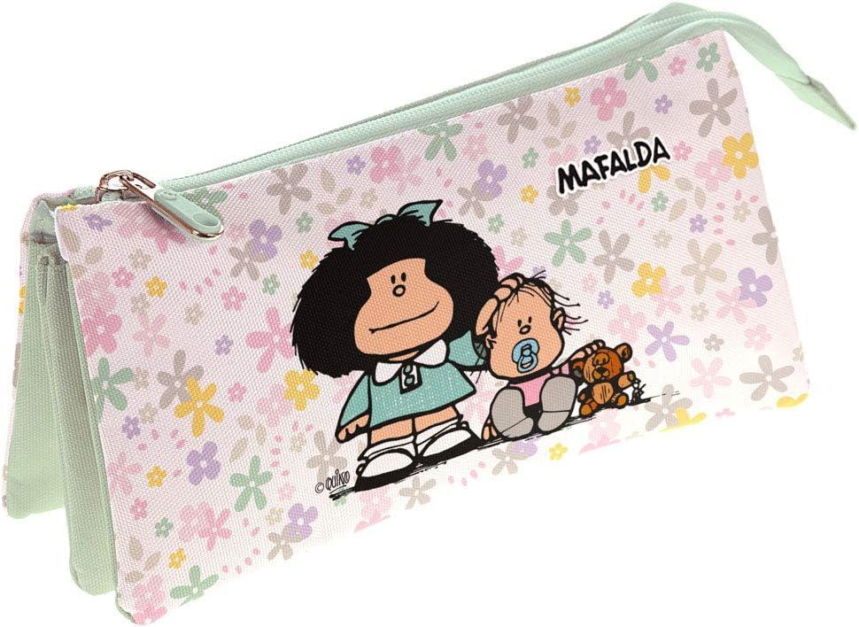 Grafoplás Estuche Portatodo Triple, Mafalda Flores: Amazon.es: Oficina y papelería