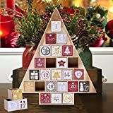 """Juegoal Countdown to Christmas Calendar 2019 Nature Wooden Tree Shape Advent Calendar with 24 Storage Drawers, for Kids, 15"""" Tall"""