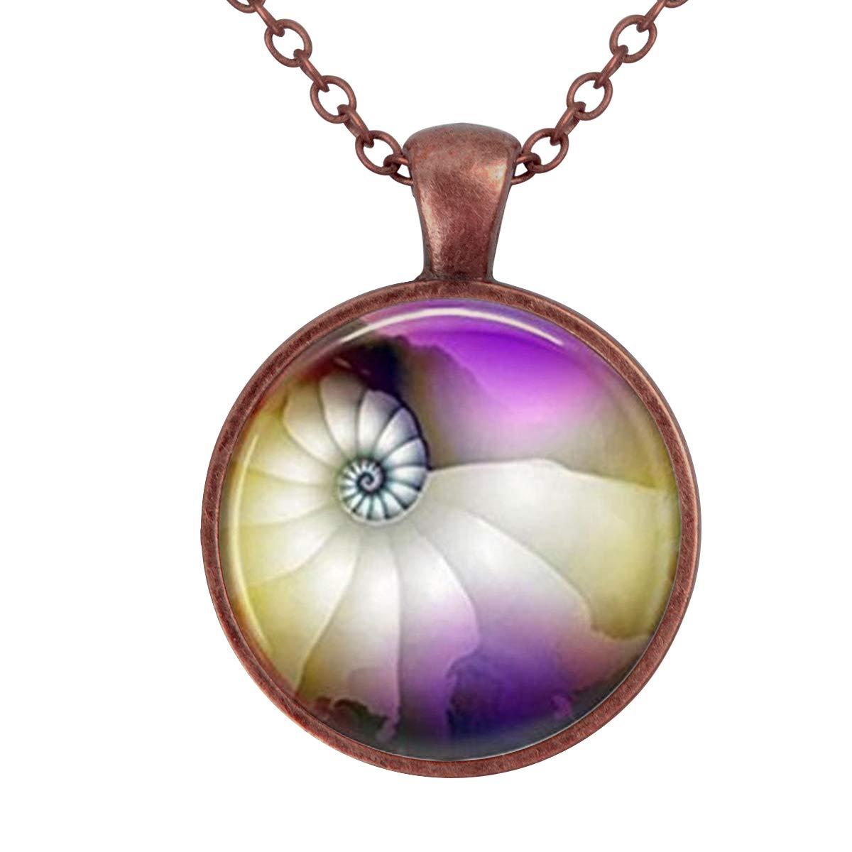 Family Decor Rainbow Seashell Ocean Nautical Pendant Necklace Cabochon Glass Vintage Bronze Chain Necklace Jewelry Handmade