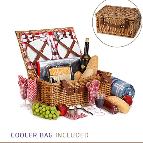 Picnic Basket For 4 - 29 Piece Kit Includes Wicker Basket with Stainless Steel Flatware, Ceramic Plates, Glasses, Linen Napkins and Blanket and More - by Vysta Insulated Wicker Basket