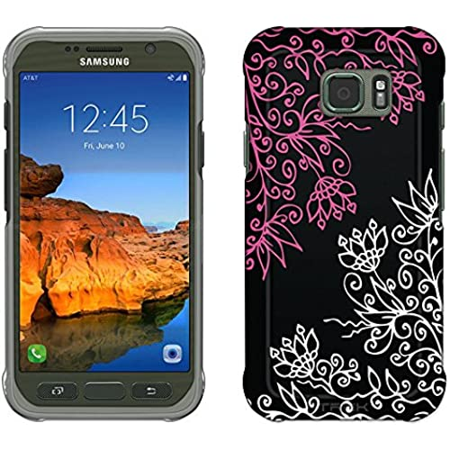 Samsung Galaxy S7 Active Case, Snap On Cover by Trek Pink White Floral on Black Slim Case Sales