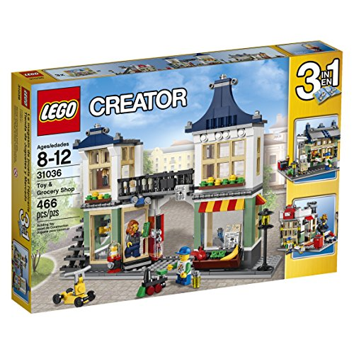 LEGO Creator 31036 Toy and Grocery Shop, 3-in-1 Building Toy Set (Toy Store, Grocery Shop, or Newspaper Stand / Post Office), 466 Pieces Grocery Shop