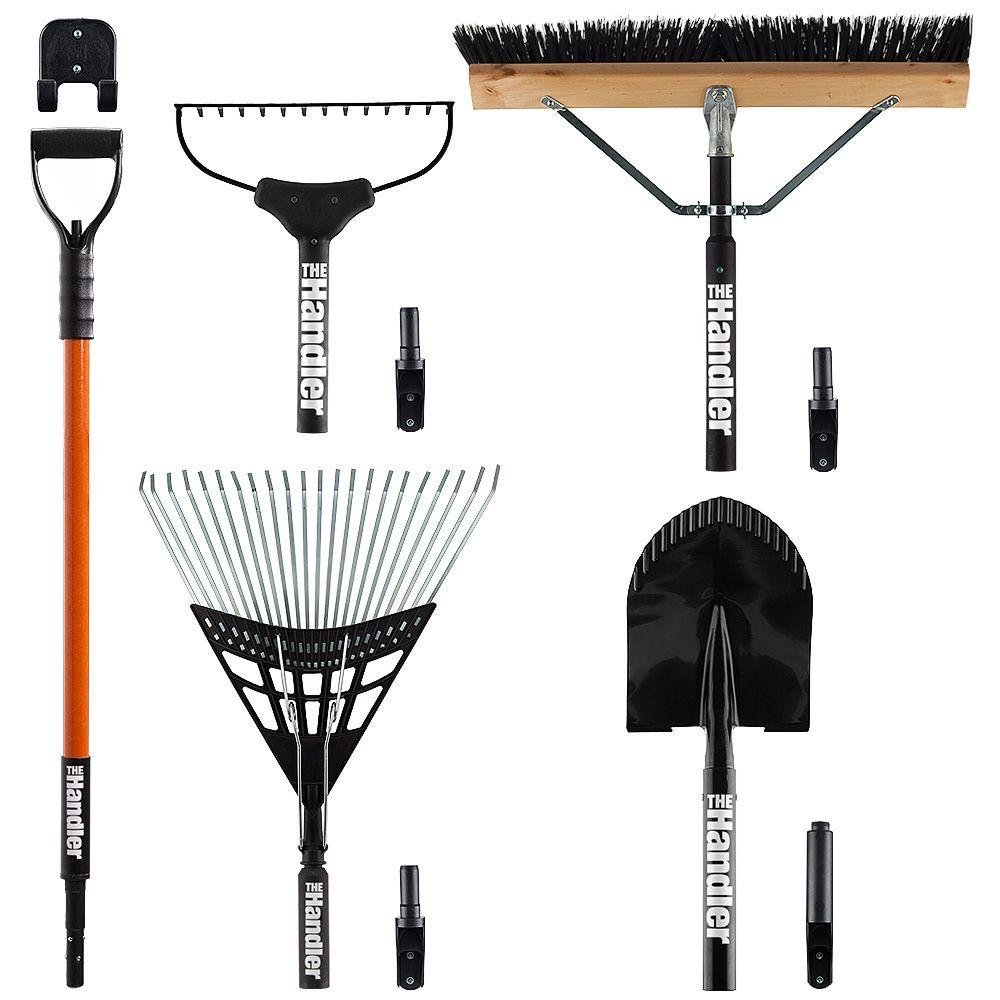 Lawn and Garden 5-Piece Tool Set with Wall Mounted Garage Storage System