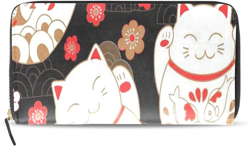 Red white Maneki Coin purse 2 zippered pockets