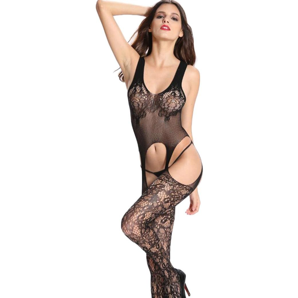 Women Lingerie Hollow Mesh Bodystockings, CSSD Silk Stockings Transparent Bodysuit Open Crotch Condole Belt Pajamas Black)