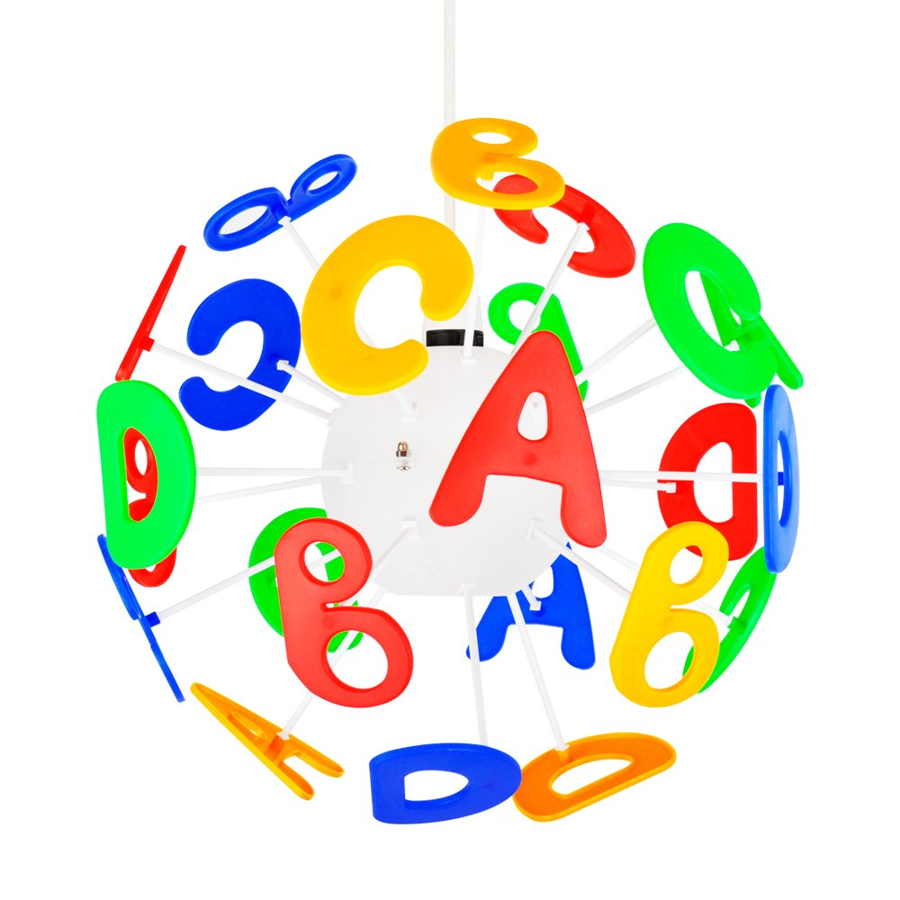 Fun And Educational Round Children's Bedroom / Baby Nursery ABC Alphabet Letters Colourful Burst Ceiling Cot Mobile Lamp Pendant Light Shade MiniSun