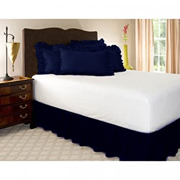 Leoie Solid Color Ruffle Wrap Around Elastic Bed Skirts Dressing Drop Bed Decoration Navy Blue 135 * 200 + 38cm