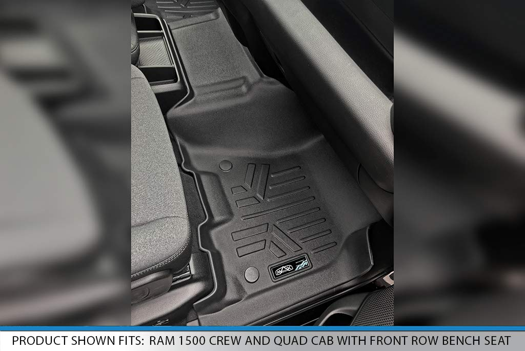 SMARTLINER Floor Mats 2 Row Liner Set Black for 2019 Ram 1500 Crew Cab with Front Row Bench Seat Both Rows 1pc