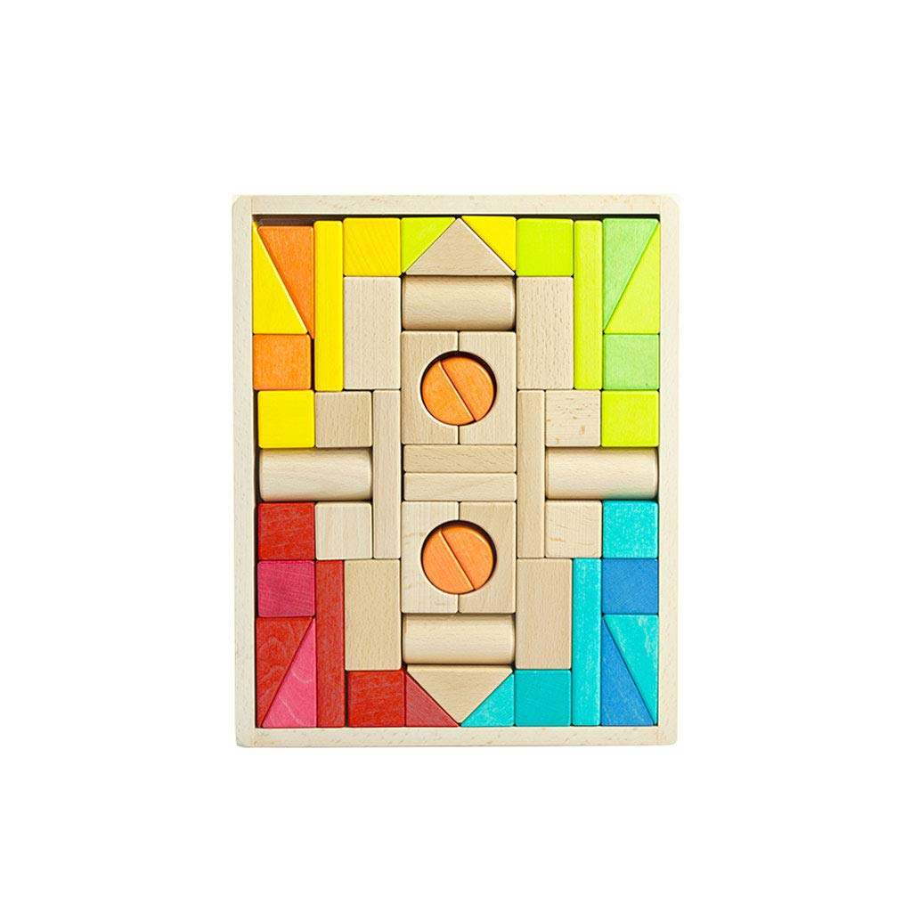 LIUFS-TOY Children's Building Blocks Toys Puzzle Early Education Wooden Combination Combination of Wooden Blocks Birthday Gifts (Size : M)