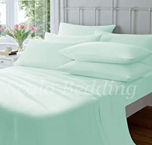 Devi Bedding Queen Size Sheet Set - 4 Piece Set - Hotel Luxury Bed Sheets - Extra Soft - Deep Pockets - Easy Fit - Breathable Sheets - Comfy-Aqua Bed Sheets - Queens Sheets – 4 PC