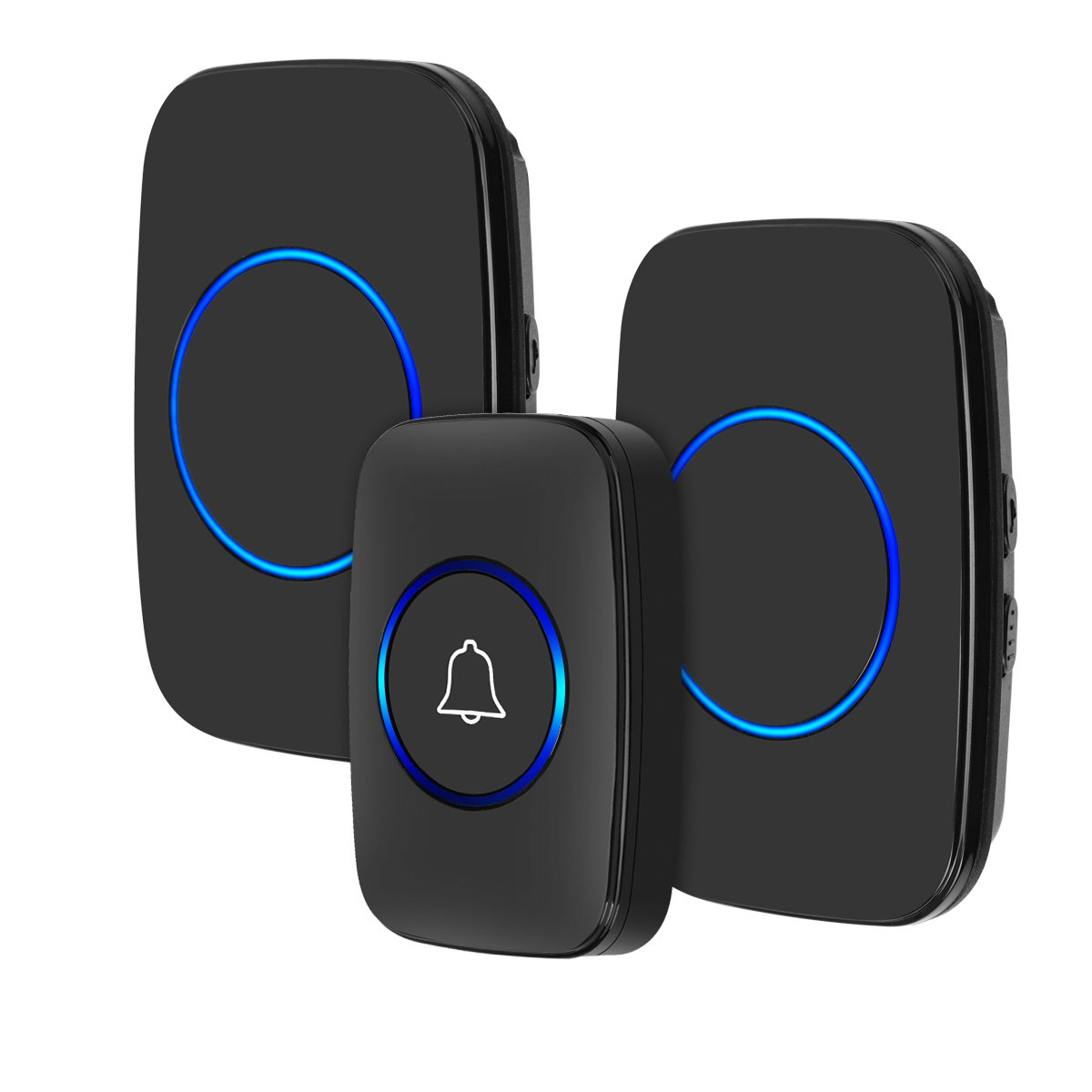 Wireless Doorbell, YIHUNION Waterproof Chime Kit Operated over 1000ft with 1 Remote Button and 2 Plug-in Receivers Operating for Office and Home (1 Transmitter + 2 Receiver (Black))
