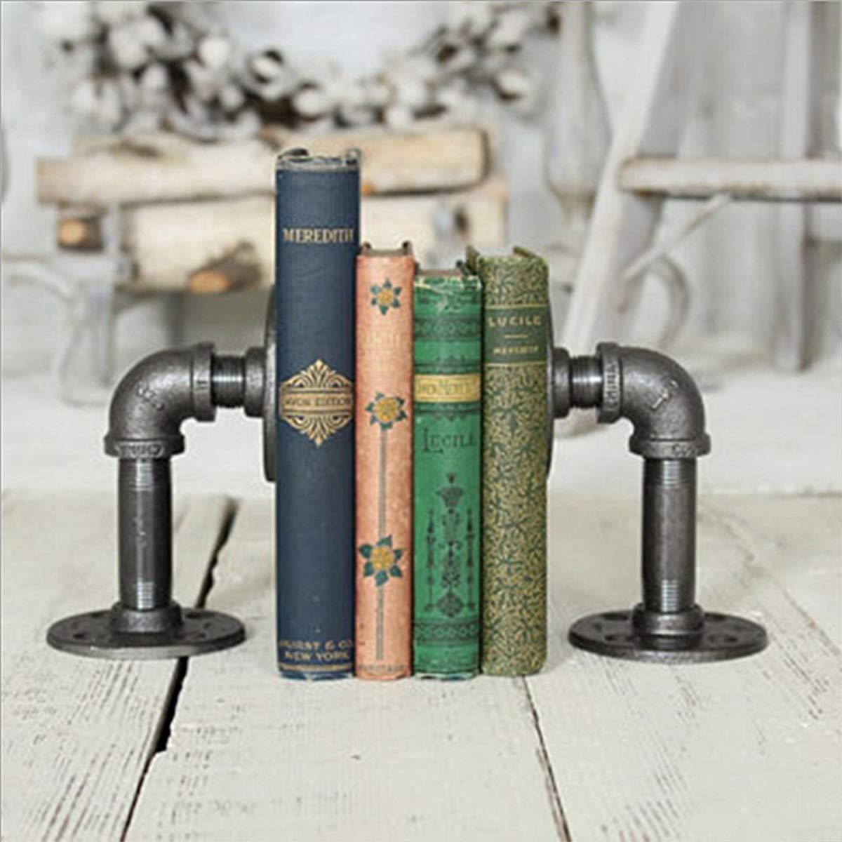 Warm Van Industrial Pipe Bookends,Floating Decor Pipe Shelf,Vintage Metal Brackets,Wall Mount Diy Storage Bookshelves,Office Desk Bookmark (2pcs)