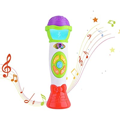 ThinkMax Kids Microphone Toy, Voice Changing and Recording Microphone with Colorful Light Musical Toys (Green): Toys & Games
