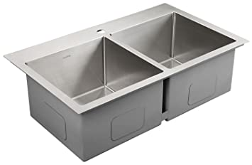 Clearance Sale AguaStella Sink AS3320 Stainless Steel Kitchen Sink 33 Inch  Handmade Overmount Drop In Double