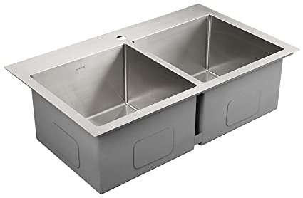 AguaStella Sink AS3320 Stainless Steel Kitchen Sink 33 Inch Handmade  Overmount Drop In Double Equal Bowls