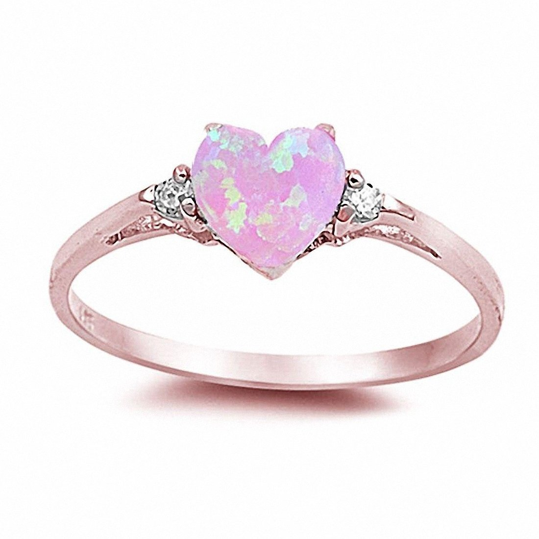 Wedding Engagement Heart Created Pink Opal Promise Ring CZ 925 Sterling Silver, Size-5