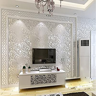 QIHANG Sliver Gray Victorian Damask Embossed Textured Wallpaper 0.53m10m=5.3?