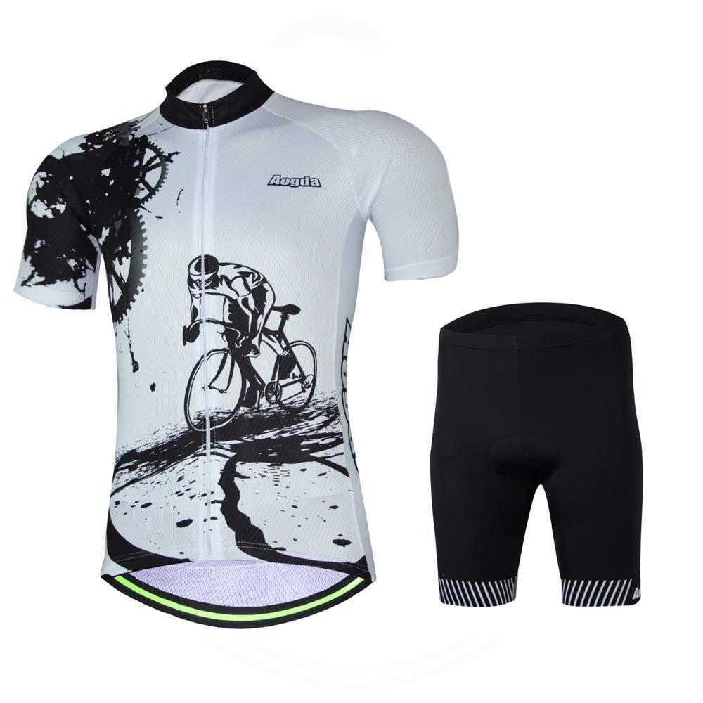 Aogda Cycling Jerseys Men Bike Shirts Breathable Short Sleeves Tights Suit Biking Bib Shorts Bicycle Jacket And Pants (White Suit, XL) by Aogda Cycling Jersey
