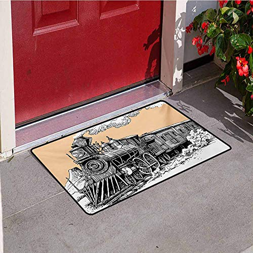 Jinguizi Steam Engine Front Door mat Carpet Vintage Wooden Train Rail Wild West Wagon in Countryside Drawing Effect Artsy Machine Washable Door mat W35.4 x L47.2 Inch Peach White