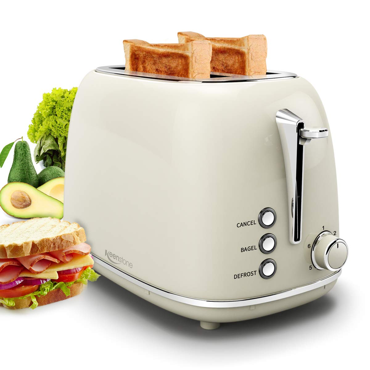 2 Slice Toaster, Compact Bread Toasters with 6 Browning Settings, 1.5 In Extra Wide Slots, Stainless Steel Housing, Bagel/Defrost/Cancel Function, Removable Crumb Tray, 825W for Breakfast Bread -Beige by Keenstone