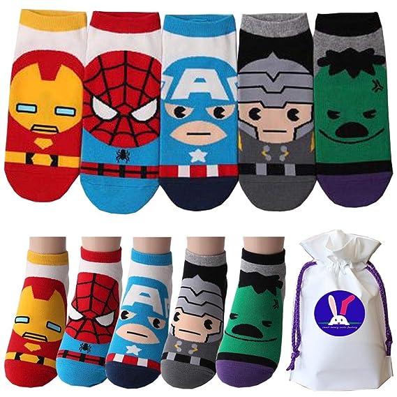 Calcetines Casuales de Marvel Iron Man Hulk Thor Spider-Man Captain America carácter Casuales Calcetines para niños Pack de 5 Metro: Amazon.es: Ropa y ...