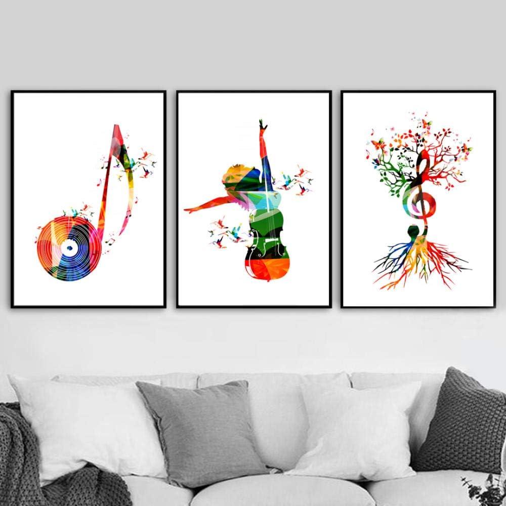 LKLKK Abstract Music Girl Cello Tree Poster and Print Wall Art Canvas Painting Cuadros de Pared para Sala de Estar Dormitorio Decoración para el hogar-40x60cmx3Pcs sin Marco