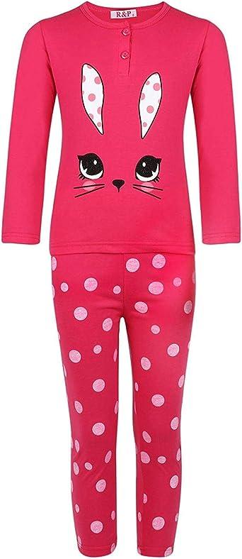 Girls Sleepwear Rabbit Pullover Pyjama Set Dot Print Pants Nightwear 3-14 Years