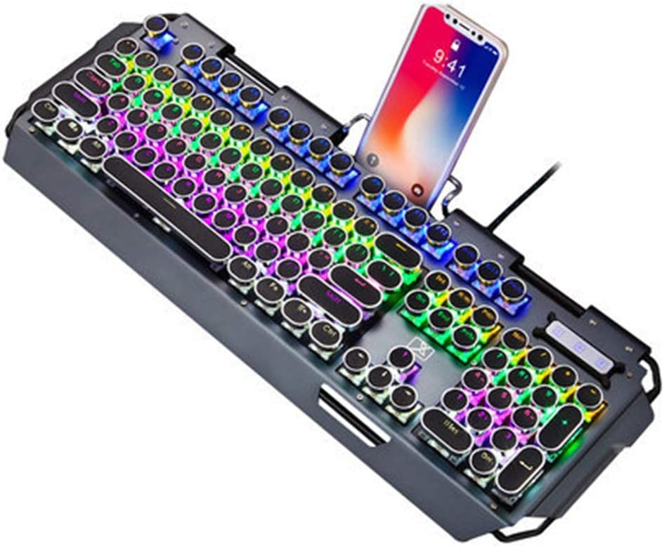 QLPP Mechanical Keyboard LED Backlit Gaming Keyboard,Steampunk Keyboard with Blue Switches 104 Keys 100/% Anti-ghosting with Metal Top Panel for PC and Laptop Gamers,A