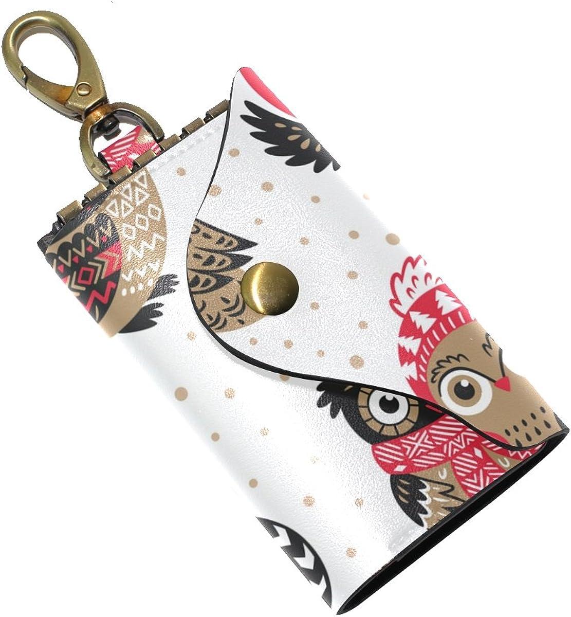 DEYYA Owl Printing Leather Key Case Wallets Unisex Keychain Key Holder with 6 Hooks Snap Closure