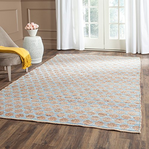 Safavieh Cape Cod Collection CAP820B Hand Woven Blue and Natural Jute and Cotton Area Rug (8' x (Contemporary Natural Jute Rug)