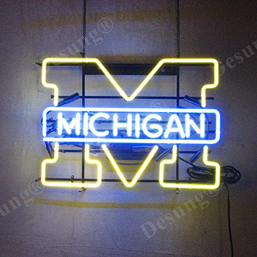 Desung Brand New 20''x16'' Sports Team MW Michigan Neon Sign (Various sizes) Beer Bar Pub Man Cave Business Glass Neon Lamp Light DB205 by DESUNG