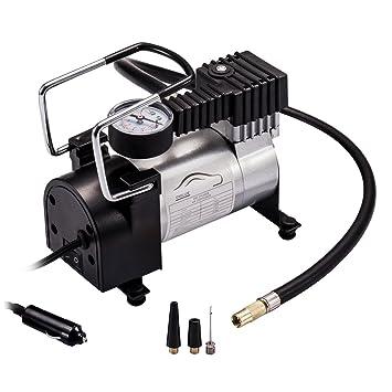 Bomba de aire portátil para neumáticos de coche, resistente, multiusos, 12 V, 140 PSI (libras por pulgada), compresor de aire: Amazon.es: Coche y moto