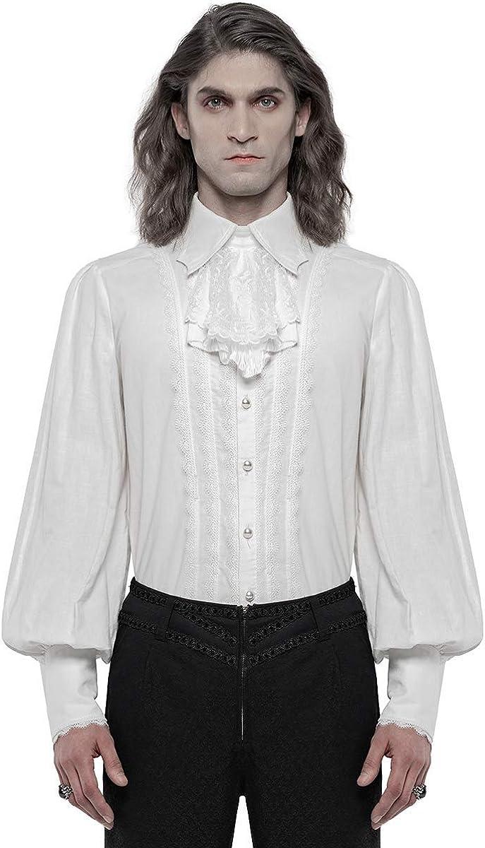 Punk Rave Camisa gótica Regency para hombre con lazo jabot ...